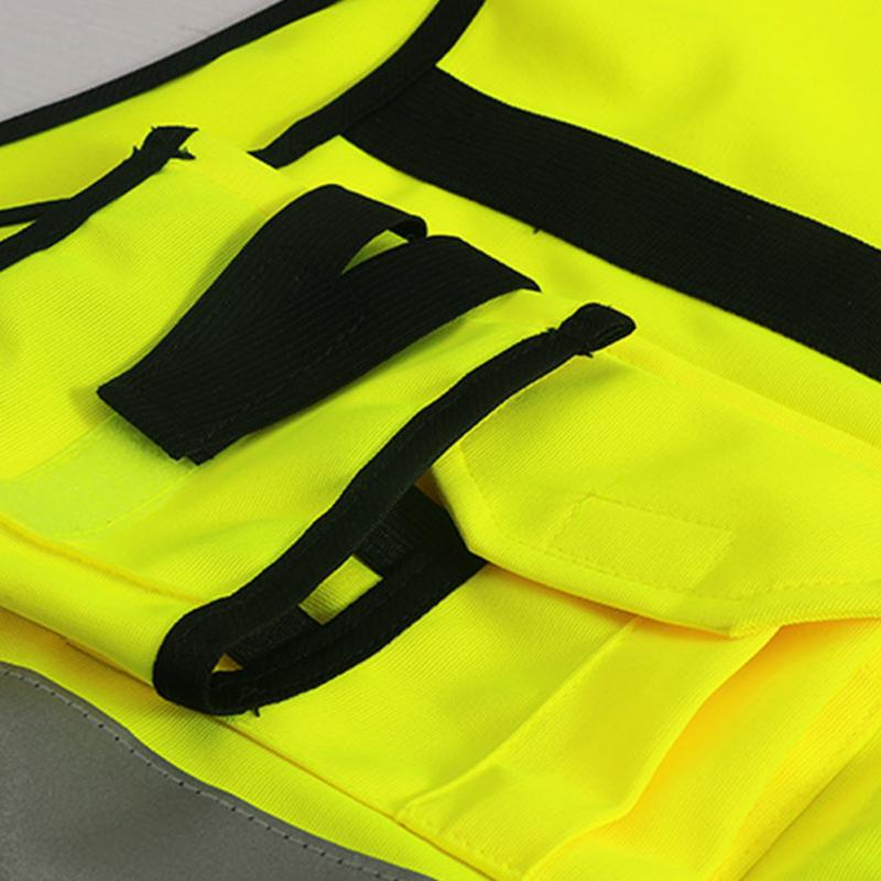 1Pc Security Visibility Reflective Vest Warp Knitting Cloth Construction Traffic Cycling Wear Reflective Safety Clothing New 5