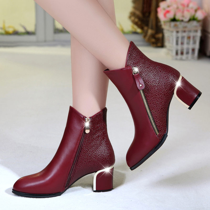 Women Boots Fashion Women High Heels Boots Shoes Woman Autumn Winter Bottes Femmes Red Ankle Boots Leather Shoes Female 2017 new women boots ankle boots high heels autumn autumn winter boots women shoes woman brown