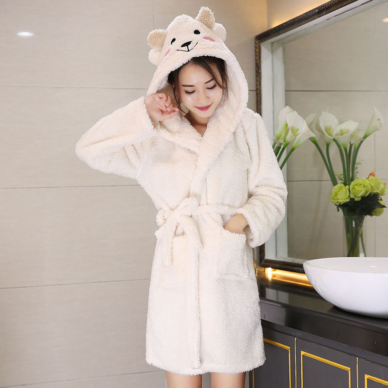 Spring Coral Velvet Hooded Women Bathrobes Ladies Cartoon Slim Pajamas Warm Medium-Long Soft Night Dress Female Nightgown