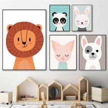 Картина на холсте Лев олень панда кролик собака искусство стене