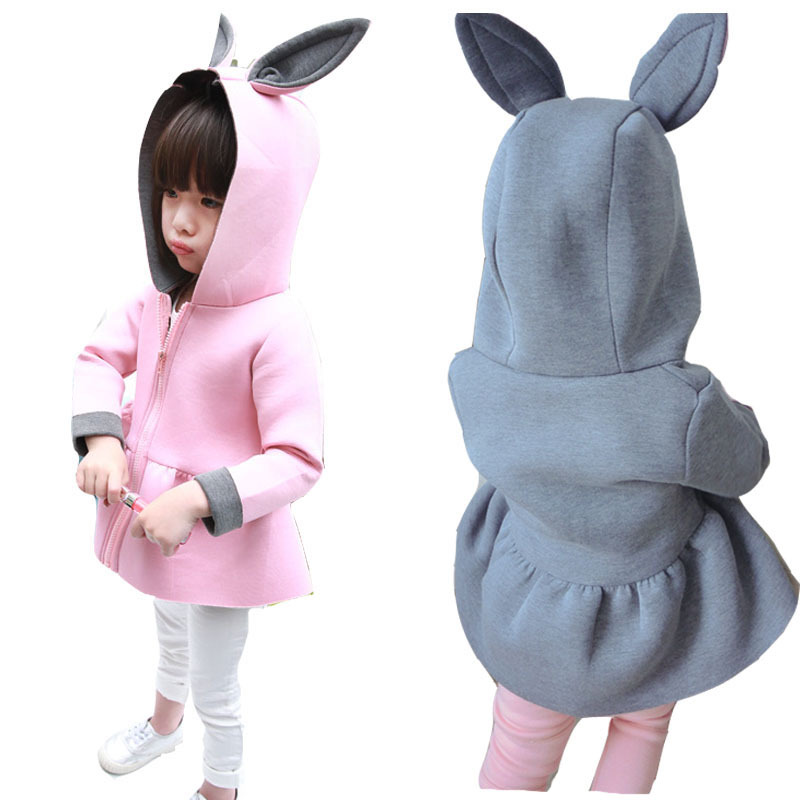 2015 new winter children's clothing for girls plus velvet jacket cartoon baby warm coat children's fashion cotton gray and pink