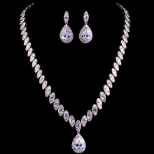 HIBRIDE Luxury White Gold Color Water Drop Oval Shape Shiny Stone Wedding Jewelry Sets For Bridal N-73