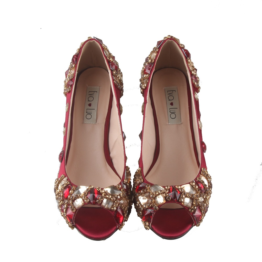 Bs775 dhl 사용자 정의 만든 와인 레드 부르고뉴 크리스탈 이탈리아 신발 일치하는 가방 세트 낮은 뒤꿈치 열기 발가락 여성 신발 드레스 펌프-에서여성용 펌프부터 신발 의  그룹 3