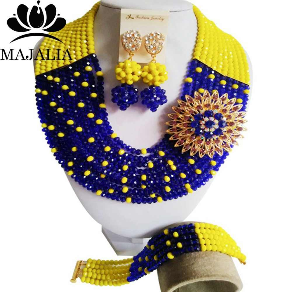 Fashion african beads jewelry set blue and yellow Nigeria Wedding Crystal necklace Bridal Jewelry sets Free shipping VV-003