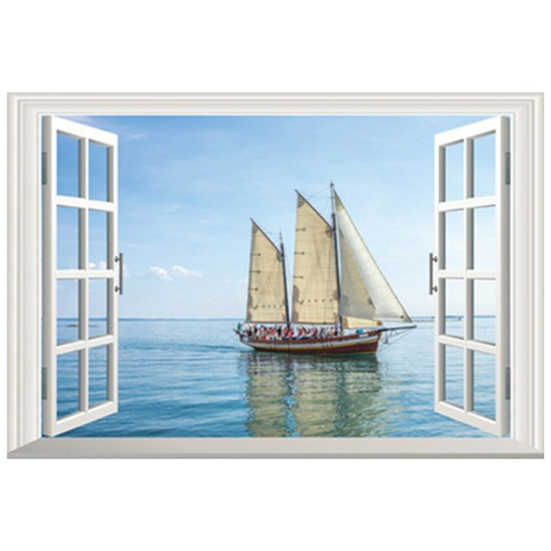 Wall Decorations Sea View Fake Window Art Stickers Sailing Ship Vinyl Decals Office Home Living Room Removable Wallpaper In From