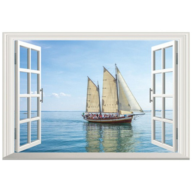 Wall Decorations Sea View Fake Window Art Stickers Sailing Ship Vinyl Decals Office Home