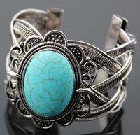 Svarowsky Tibetan silver bracelet Oval mosaic Green Turquoises ornaments 8 the latest style Free shipping of