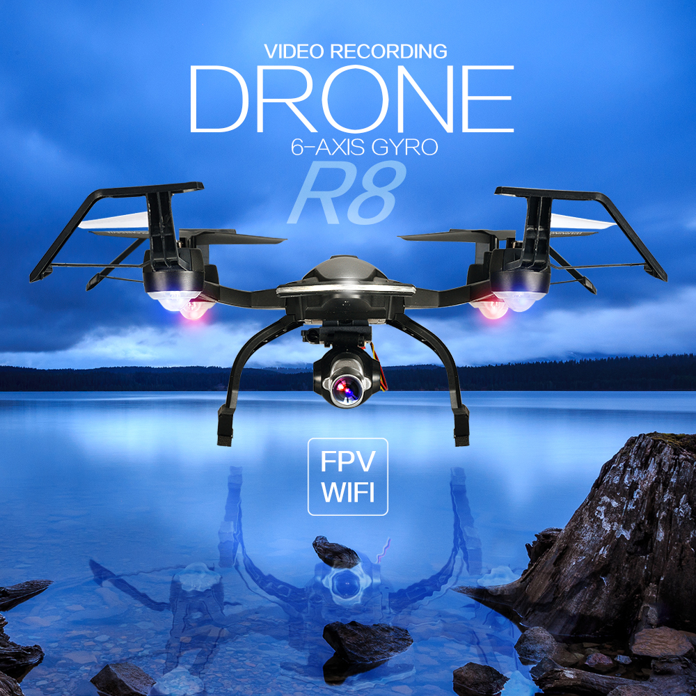 R8 Upgrade 2.4G 6 Axis 4CH FPV Quadcopter Drone With 500W HD aerial photography Wifi Camera 1080P HD 90 Degrees Wide Angle