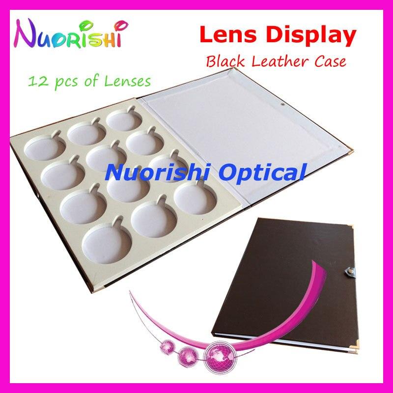 Black Leather Optical Lens Display Case Sample Box Tray Holding 12 pcs of Lenses Size Diameter