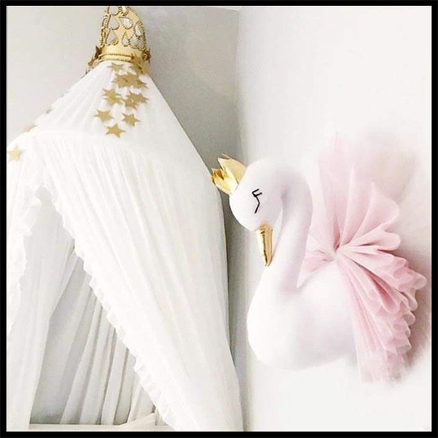 Swan Wall Mount Stuffed Animal Heads For Children Room Wall Decor