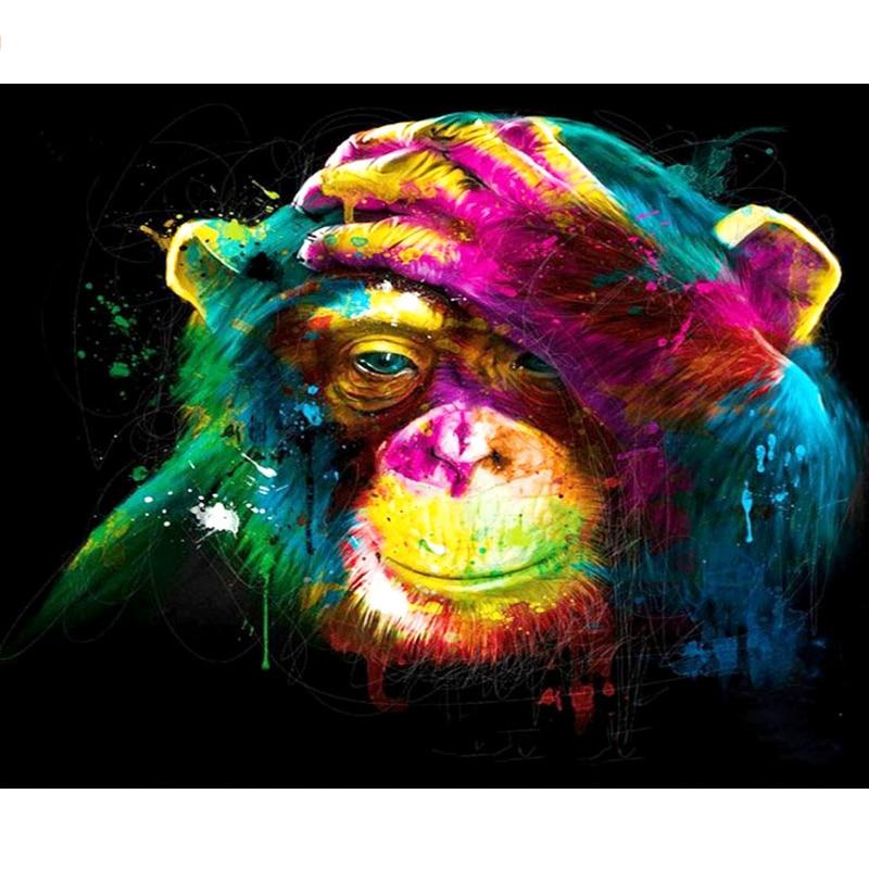Original do Natal Diy por Números Pintado Macaco Animal Pintura Digital Arte Moderna da Parede Pintura da Lona Presente Home Decor 40×50 cm