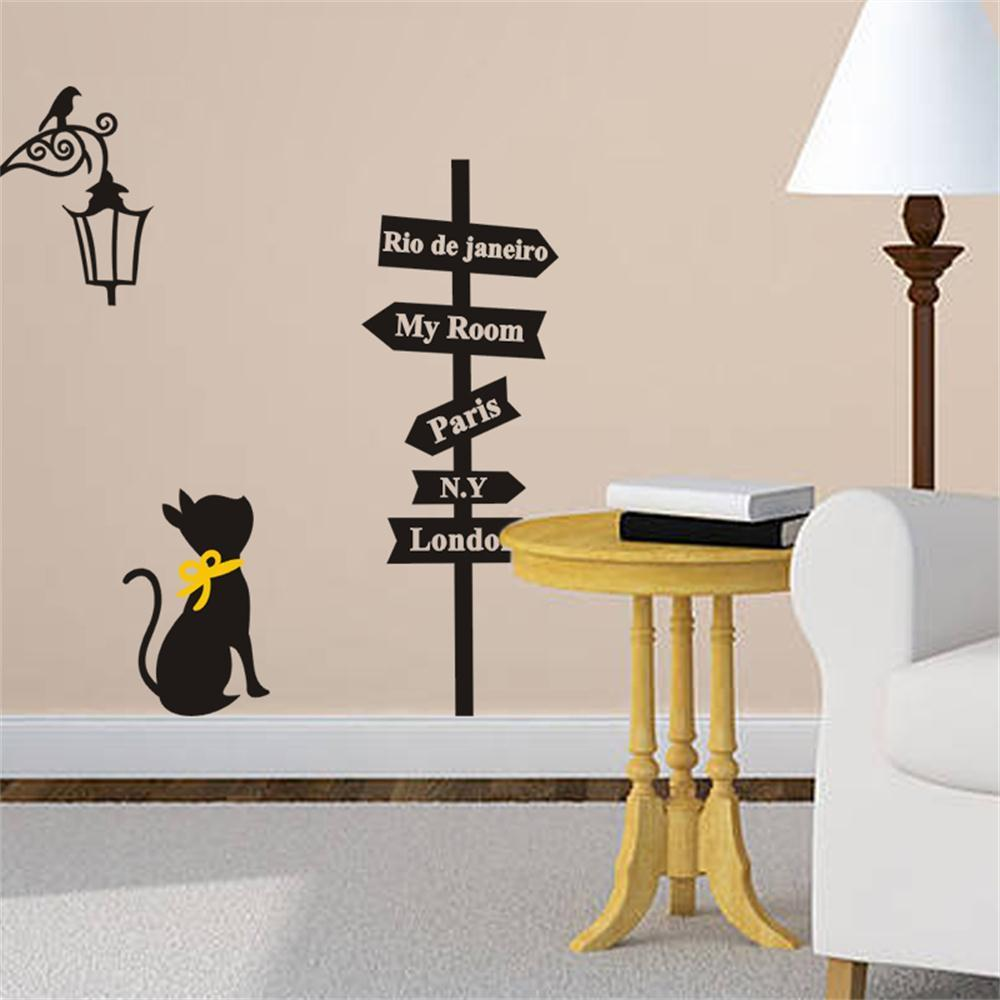 G200 Black Cat Road Sign Wall Sticker Decals Home Decor Vinyl Art Removable Children Room Stickers In From Garden On