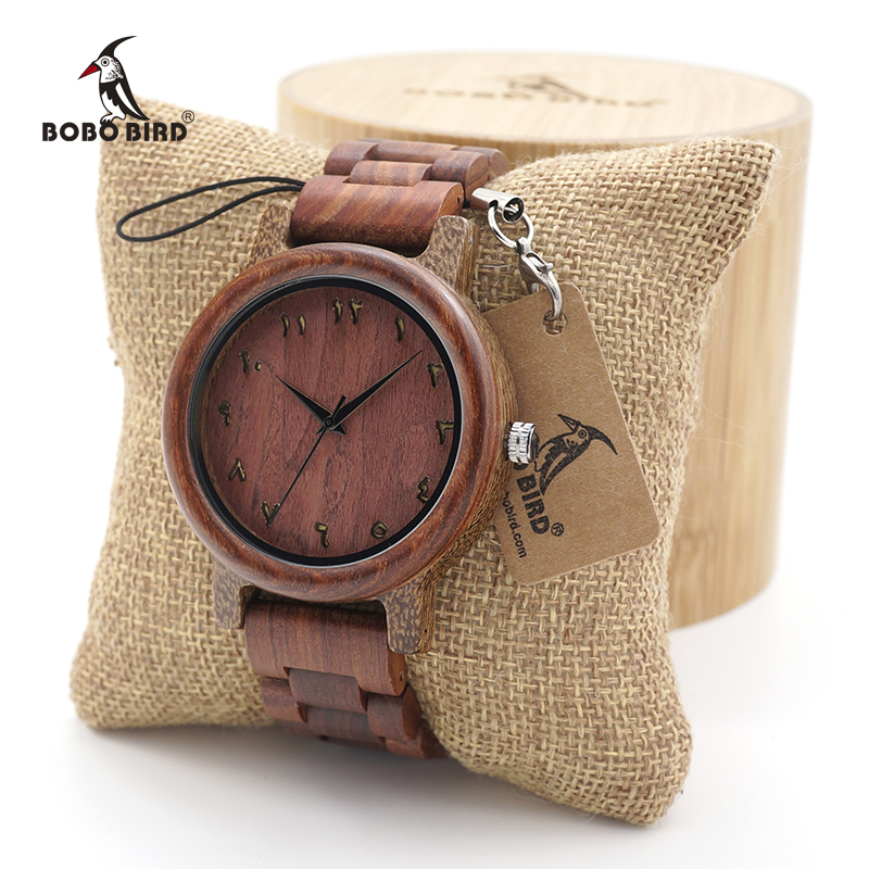 BOBO BIRD Round Vintage Red SandalWood Mens Dress Quartz Wrist watches With Full Wood watch Bands Adjustable in Wood Box