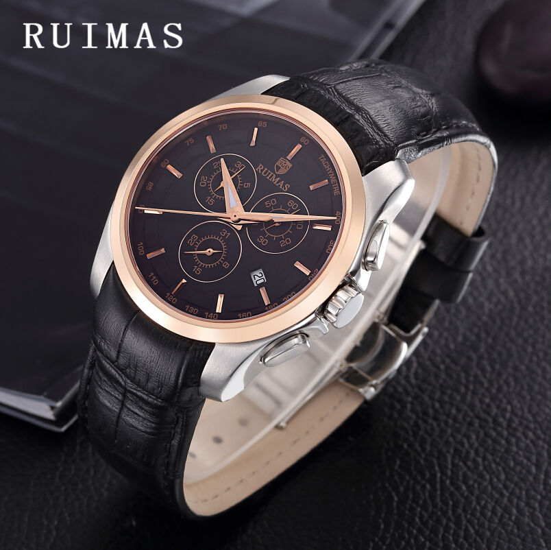 Relogio Masculino RUIMAS Business Men Fashion Luxury Watch Male Leather Wristwatches Quartz Watches Casual Clock Erkek Kol Saati business men dress watch mens fashion quartz watches analog calendar steel male wristwatches kicadn casual clock erkek kol saati