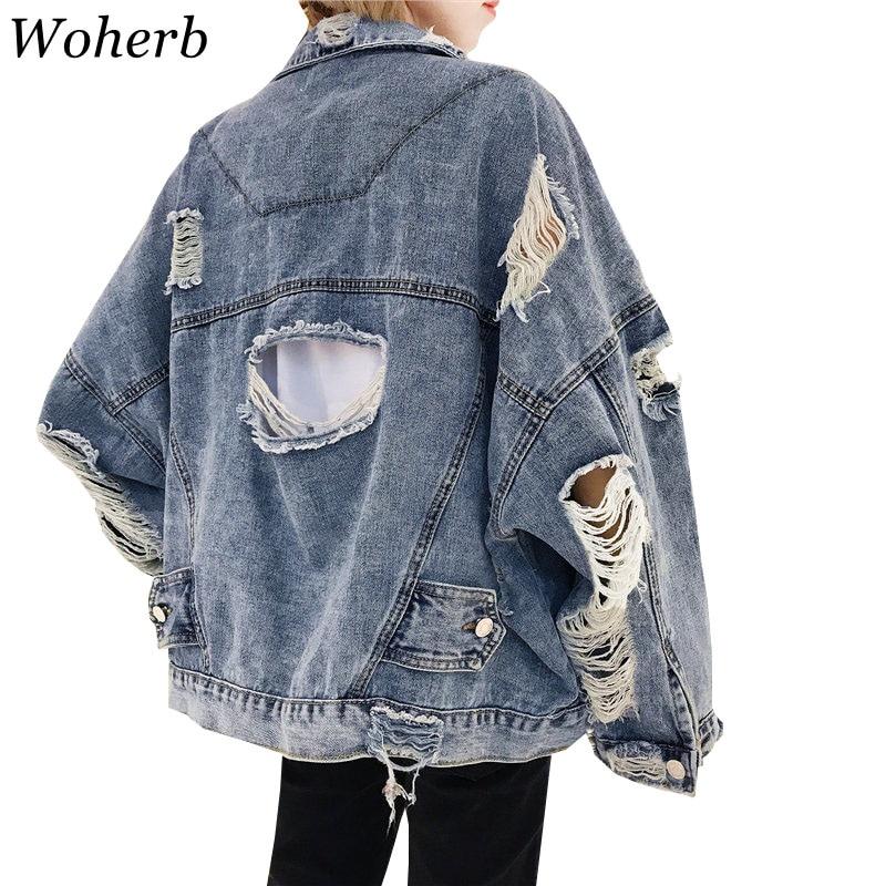 Woherb Autumn 2019 Harajuku Jeans Jacket Women Loose Vintage Ripped Frayed Denim Jackets Ladies Punk Streetwear Coats 20250
