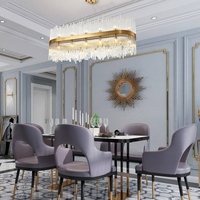 Rectangle modern chandelier lighting for dining room luxury gold bronze glass chandeliers suspension wire led lampadari