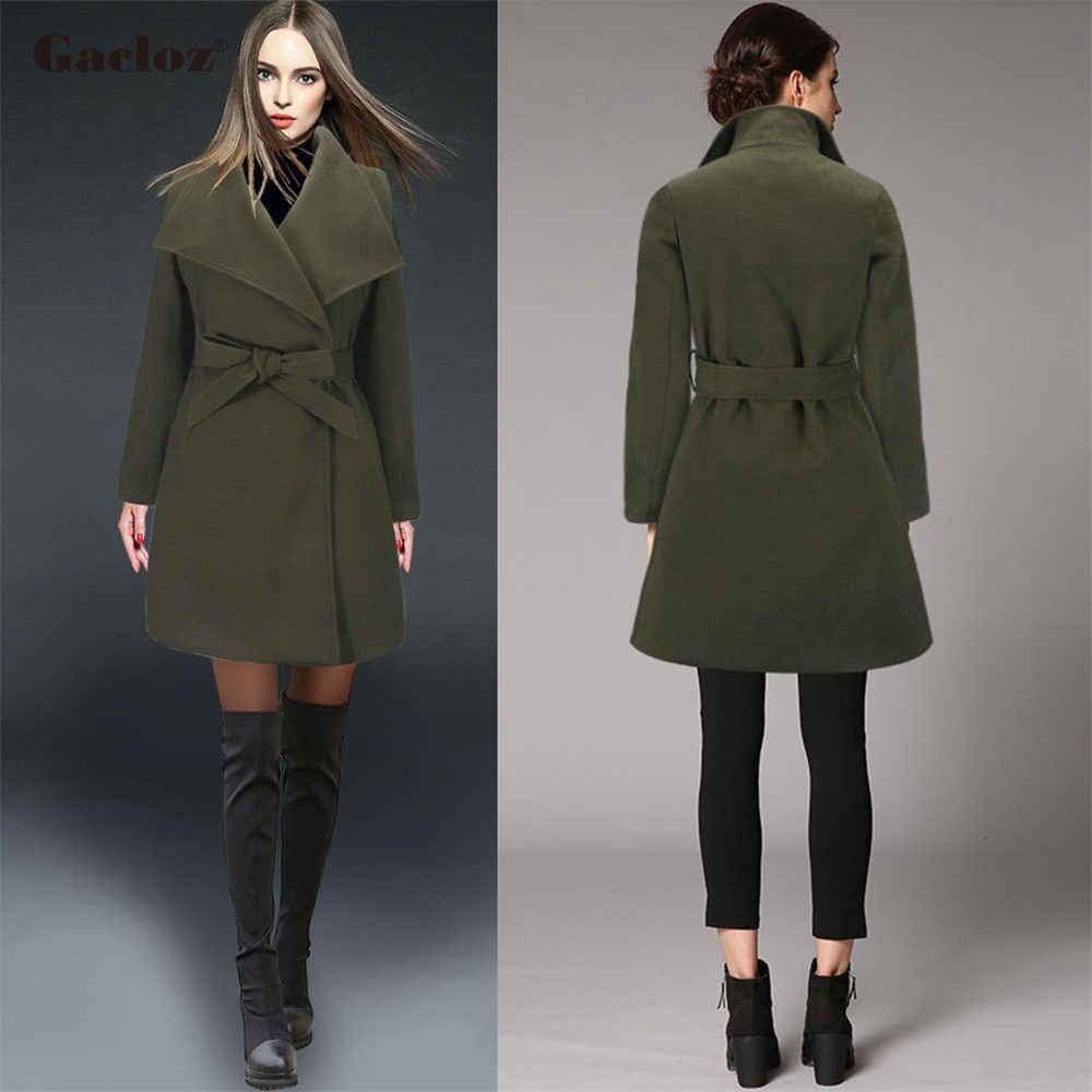 Gacloz Winter Woolen Coat Women Wool Jacket Coats Ladies Office Work Wear Elegant Overcoat Outerwear casacas para mujer invierno