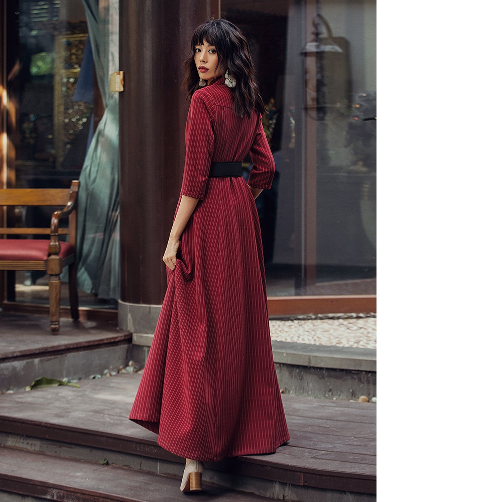 Haute qualité nouvelle marque 2019 printemps automne longue robe d'affaires femmes col cranté imprimé rayé simple boutonnage longue Maxi robe - 2