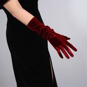 Image 4 - 40cm Velour Gloves Long Section Wine Red Dark Red Female High Elastic Swan Velvet Gold Velour Touchscreen Woman WSR04