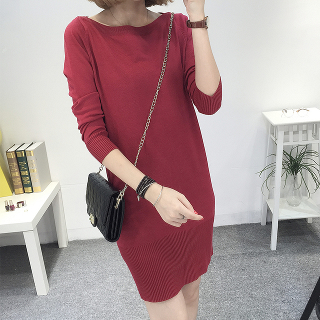 MissLymi XXXL Plus Size Women s Sweater Knitted Dresses 2017 Autumn Winter  Casual Slash Neck Long Sleeve 6487b961cccf