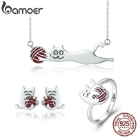 BAMOER 100% 925 Sterling Silver Set Naughty Little Cat Necklace Earrings Ring Jewelry Sets Sterling Silver Jewelry Gift ZHS046