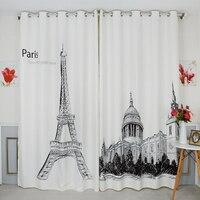 Custom Made 2x Grommet Window Draperies Curtain Living Room Window Dressing 200cm x 260cm Paris Eiffel Tower White