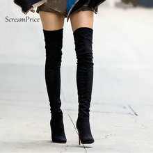 Stretch Suede Womens Thigh High Boots Stilettos Sexy Over the Knee Boots Pointy Toe High Heel Long Boots Black Gray with Zipper