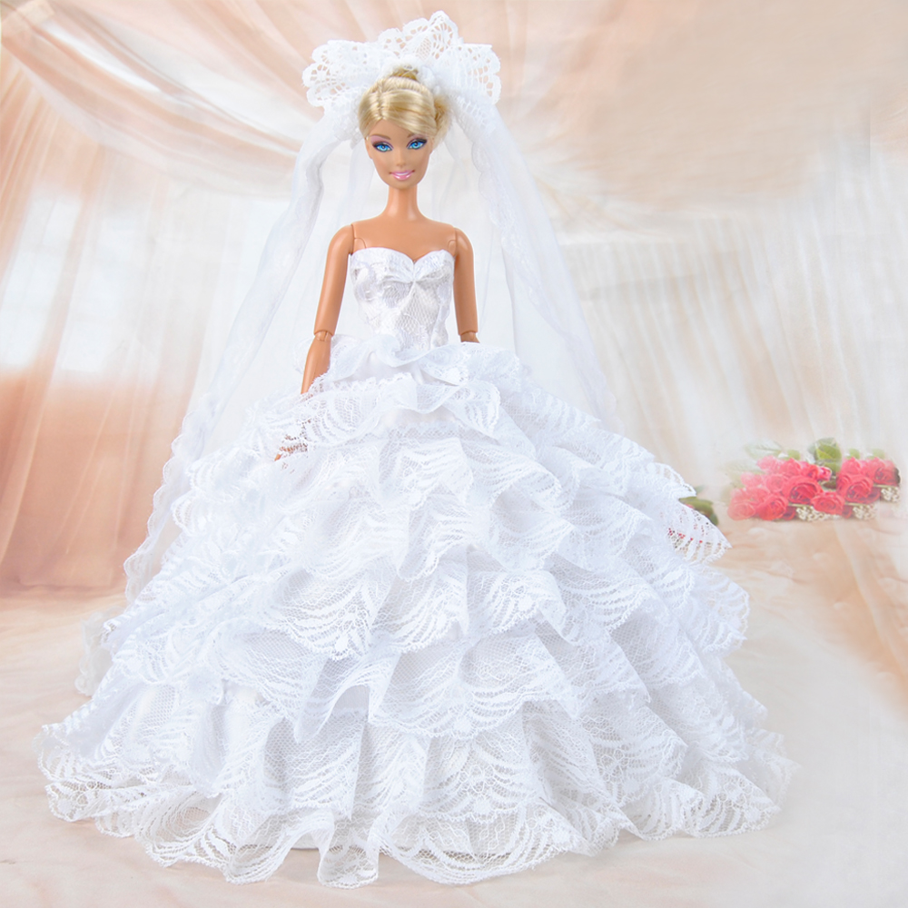 Buy fashion multilayer doll clothes for Barbie wedding dresses for sale