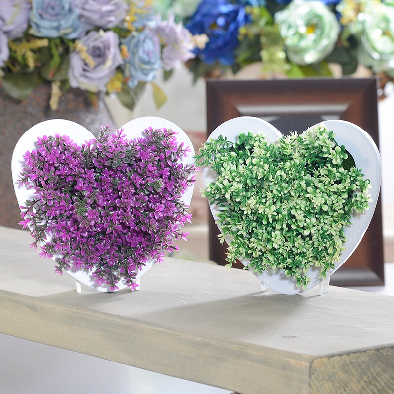 Heart shape 3D Potted Creative Metope Succulent Plants Imitation Wood Photo Wall Hanger Artificial Plant Home Living Room Decor