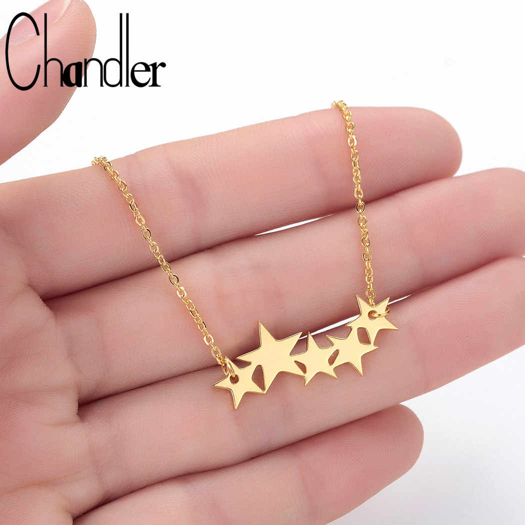 Chandler 316L Steel Stackable Star Necklace Pentagram Pendant Engagement Everyday Homme Femme Planet Jewelry Customized Colier
