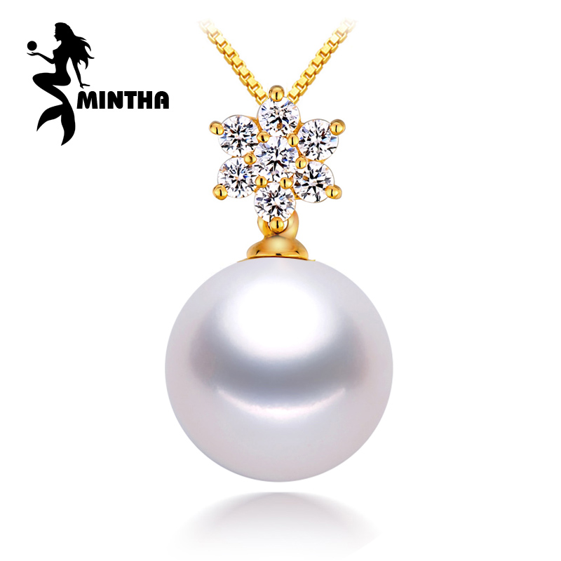 MINTHA 18K Yellow Gold peandant pearl Jewelry snowflake pendant for lovers pearl 18k gold pendants send s925 silver necklaces браслет на ногу other 18k