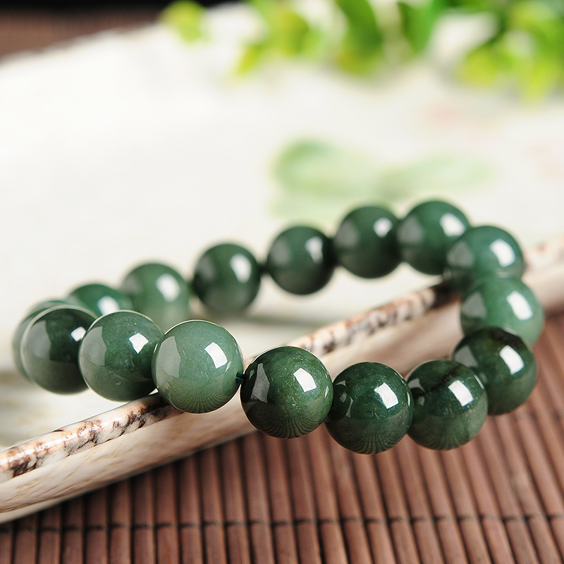 Jade Bracelet Beads: Natural A Cargo Oil Green Jade Beads Bracelet Burma Jade