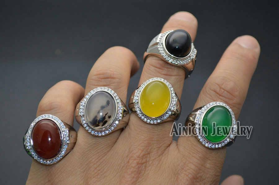 ใหม่แฟชั่นธรรมชาติ Semi - precious หินสีเหลืองสีแดงสีเขียว Agate นิลสีดำรูปไข่พื้นผิวปรับแหวนผู้ชาย