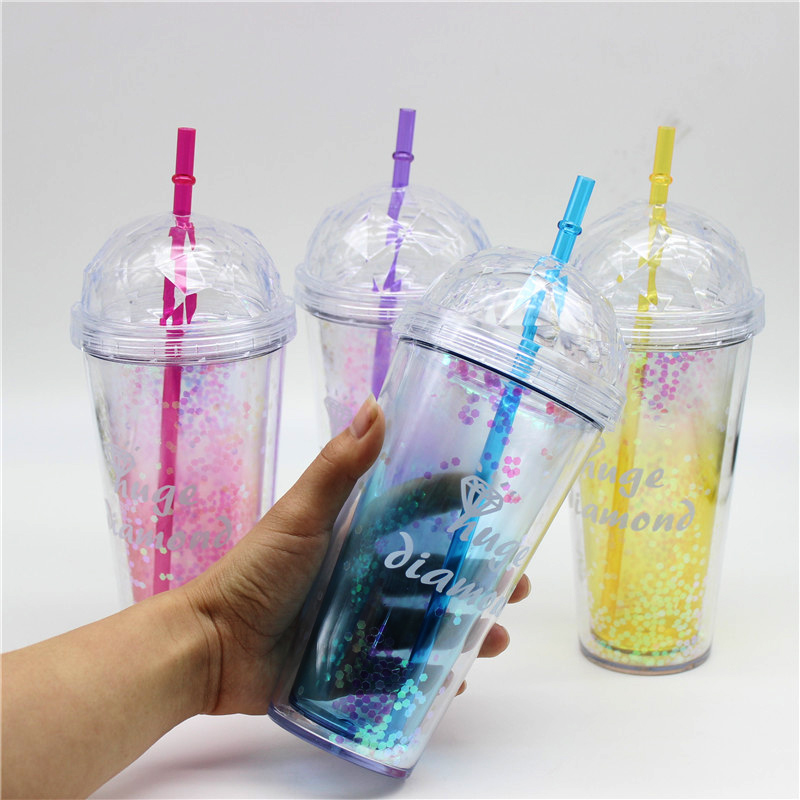 New 520ml Glitter Sequins Plastic Sports Straw Bow Water Bottle with Diamond Shape Lid for Outdoor Camping Drinking Bottles