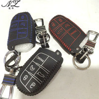 5 Button Leather Car Key Cover For JEEP Grand Cherokee Dodge JCUV Dart Journey Chrysler 300C