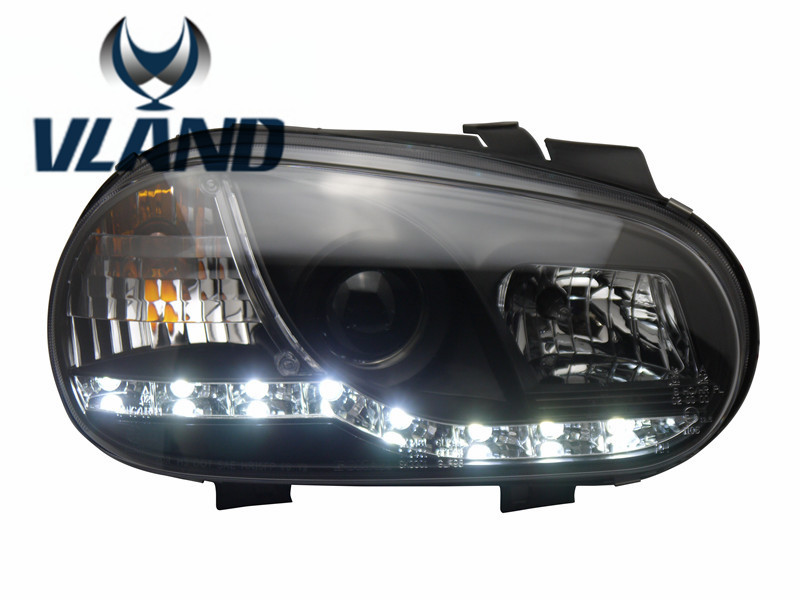 VLAND manufacturer for Car head lamp for Golf4 LED Headlight 2004-2008 H7 Xenon Lamps with Led Bar Lamp Plug and Play free shipping vland factory headlamp for volkswagen gol led headlight h7 xenon lamp with angel eyes led bar lamp plug and play