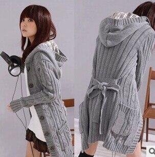Акция, кардиганы, свитера для женщин, длинный стильный Теплый женский свитер, распродажа осенне-зимних курток, Серый кардиган - Цвет: Серый