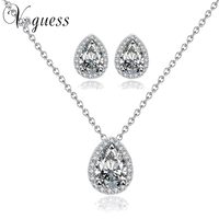 2014 Brand Design Pear Cut AAA Swiss Cubic Zirconia Necklace And Earrings Jewellery Set White Gold