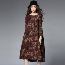 Autumn and winter new women's clothing loose fashion Chinese style plus-size long dress print crew neck wrist high waist dress