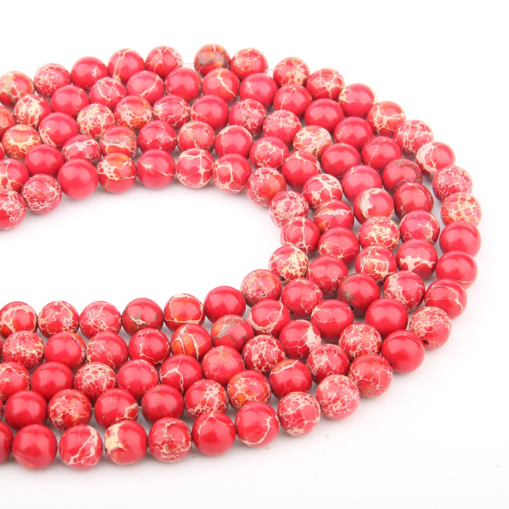 Natural Stone Beads Red Turquoises  4681012mm  Fashion Jewelry Loose Beads for Jewelry Making Necklace DIY Bracelet