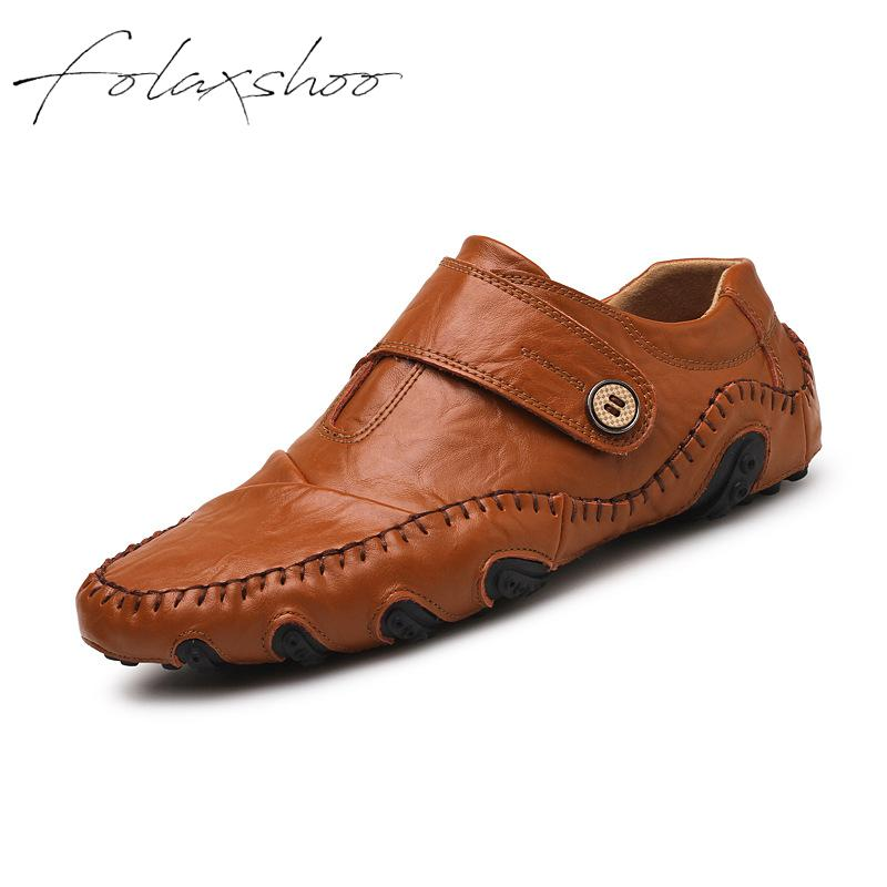Folaxshoo Genuine Leather Rubber Loafers Slip-on Mens Shoes Casual Men Loafers Breathable Mens Casual Slip On Shoes Men Shoes 47 mycolen mens loafers genuine leather italian luxury crocodile pattern autumn shoes men slip on casual business shoes for male