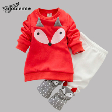 Baby Boys Girls Brand Clothing Sets Children's Cartoon Fox Pattern Pullover Coat+Pants Kids 2pcs Christmas Clothes Outfit Jersey
