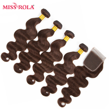Miss Rola Hair Pre-colored Ombre Mongolian Body Wave Non Remy #4 100% Human Hair 4 Bundles with Closure Hair Extensions Haare