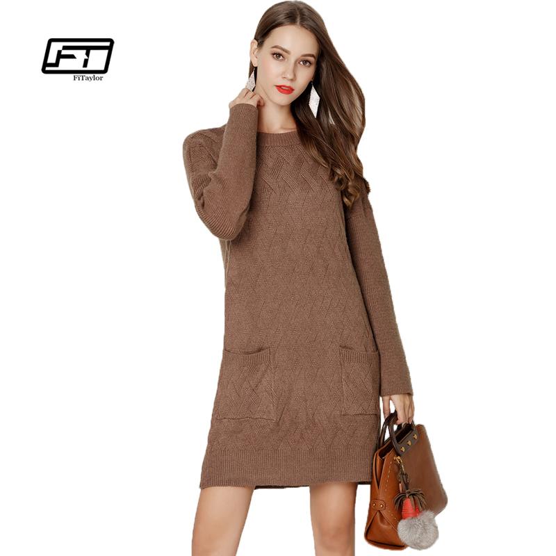 Fitaylor New Autumn Winter Women Knitting Dress Casual O Neck Long Sleeve Pullover Warm Knitted Sweater Mini Dress v neck layered long sleeve pullover sweater