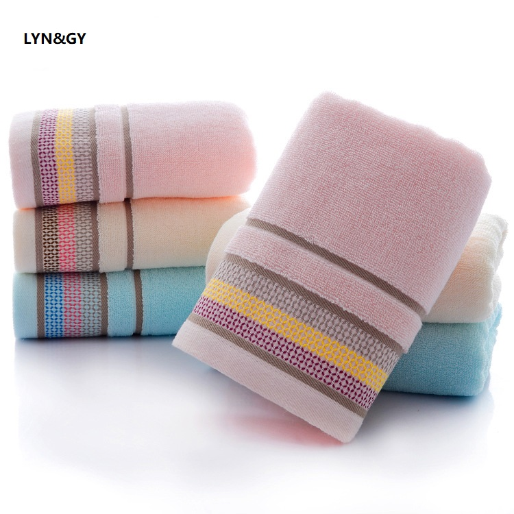 LYN&GY New 34x74cm 100% Cotton Absorbent Striped Soft Comfortable Top Grade Men Women Family Bathroom Hand Towel 2pcs/set
