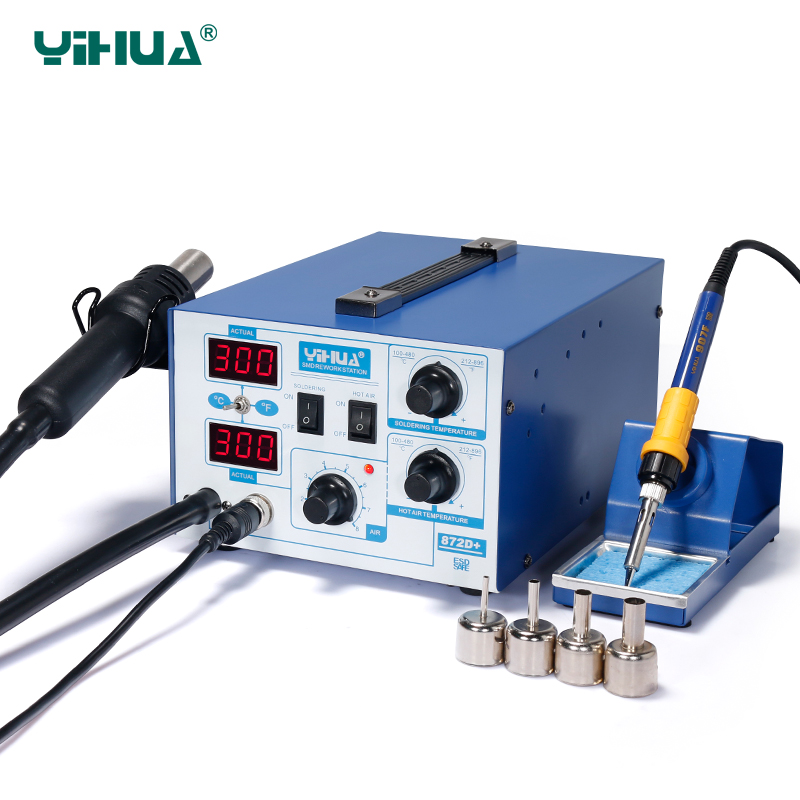YIHUA 872D+ Soldering Iron Station With Soldering Iron Holder Hot Air Station Repair Tool hot selling yihua 926 adjustable temperature electronic soldering iron station