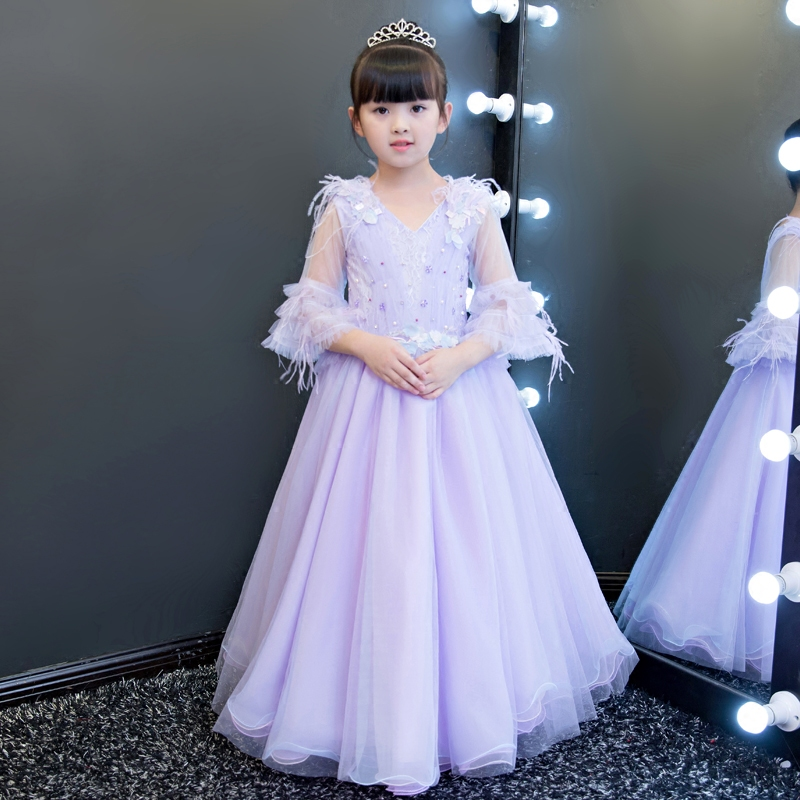 New High Quality Elegant Children Girls Light Purple Color Princess Flowers Dress Kids Birthday Wedding Pageant Lace Long Dress 2017 new high quality girls children white color princess dress kids baby birthday wedding party lace dress with bow knot design