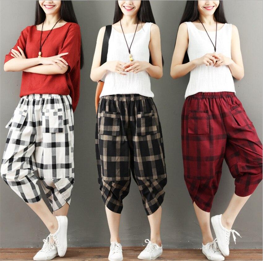 MLCRIYG 2018 Summer new style loose comfortable Lattice High waist Haren pants
