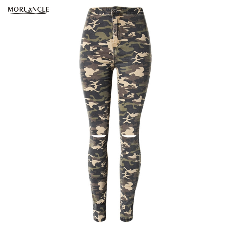 MORUANCLE Women Ripped Camouflage Jeans Pants Knee Holes Stretchy Skinny Denim Joggers For Female Distressed Trousers