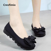 Cresfimix women fashion spring & summer slip on flat shoes lady comfortable black loafers lady cool flock summer shoes a303